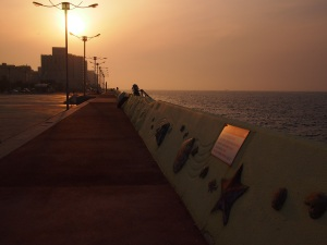 A pretty sea wall in Jeju-si